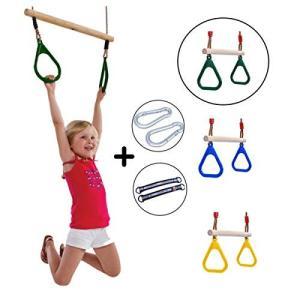 子供用どこでも吊り輪セット 体操吊り輪 ブランコ(カラビナとベルト付)逆さぶら下がりにも最適 耐荷重120kg
