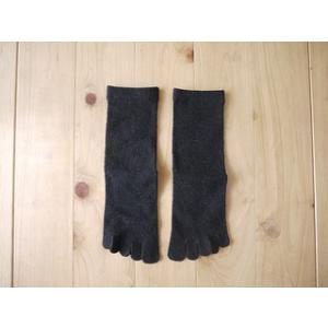 シルク5本指靴下 絹紡紬糸 かかと付き ソックス  ブラック Mサイズ 24-26cm tocochan