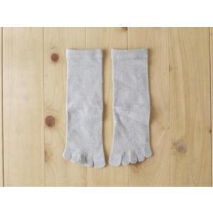 シルク5本指靴下 絹紡紬糸 かかと付き ソックス グレー Mサイズ 24-26cm tocochan