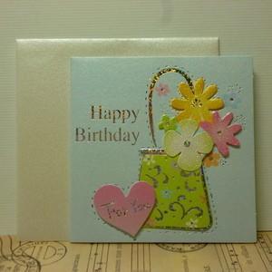 ギフトカード Birthday Card ミニカード 誕生日カード ブルー|today