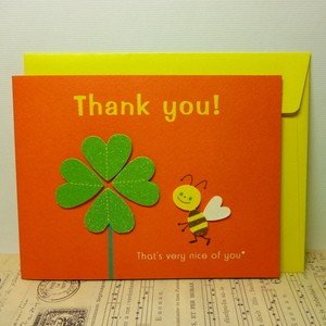 Greeting Card Thank you グリーティングカード ハチ&クローバー today