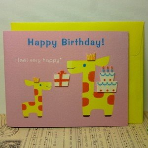 Greeting Card Happy Birthday 誕生日カード キリンピンク|today