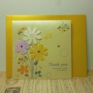 Flower Handmade Greeting Card パールフラワー Thank you Card グリーティングカード クリーム|today