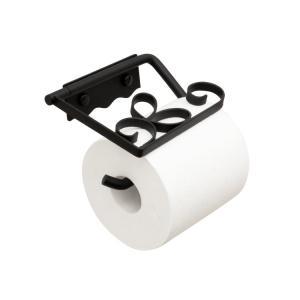 トイレットペーパーホルダー  アイアン ブラック 黒 P-6|toiletas