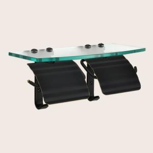 トイレットペーパーホルダー ブラック 黒  2連 棚付 真鍮 TPH ガラスシェルフ W BK 640716 toiletas