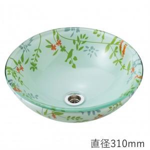 トイレ手洗い器 ガーデンパン  おしゃれ  ガラス ボタニカル(直径310mm) toiletas
