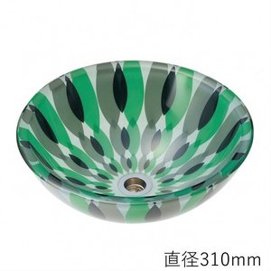 トイレ手洗い器 ガーデンパン  おしゃれ  ガラス フラワー(直径310mm) toiletas