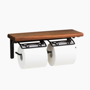トイレットペーパーホルダー アイアン風  ブラック 2連  黒 PH210BK toiletas