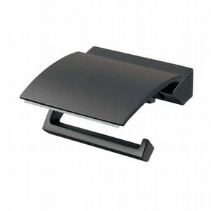トイレットペーパーホルダー  ブラック 黒 ワイドカット付き  K203K017D|toiletas