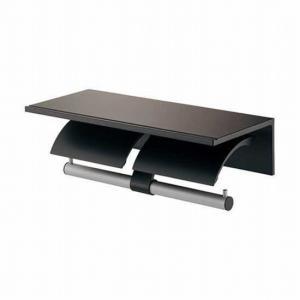 トイレットペーパーホルダー ブラック 黒  2連 棚付  K203K016D|toiletas