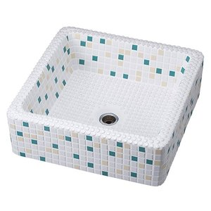 洗面ボウルタイル スクエア ブルー toiletas