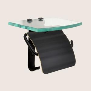 トイレットペーパーホルダー  真鍮 ガラス棚付き ブラック 黒 シングル 640719 toiletas