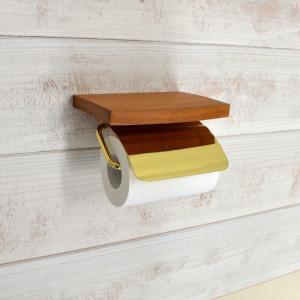トイレットペーパーホルダー  棚 真鍮 ゴールド 金 TPHウッドシェルフ S 640470 toiletas