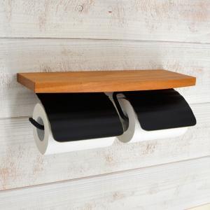トイレットペーパーホルダー  ブラック 黒 2連 棚付 真鍮 TPHウッドシェルフ W BK 940716 toiletas