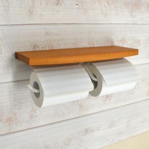 トイレットペーパーホルダー  ホワイト 白 2連 TPHウッドシェルフ W WAB 640484 toiletas