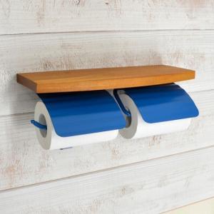 トイレットペーパーホルダー  2連 棚付 真鍮 TPHウッドシェルフ W PBL 640485 toiletas