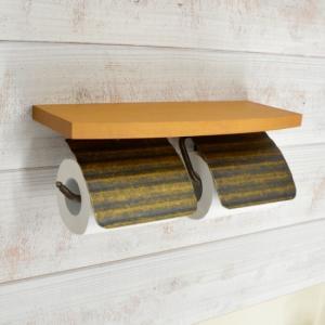 トイレットペーパーホルダー  2連 棚付 真鍮 TPH ウッドシェルフ W AN 640482 toiletas