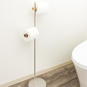 トイレットペーパーホルダー 2連  おしゃれ 木製自立型 BRANCH|toiletas
