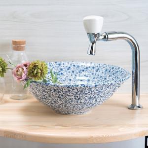 トイレ手洗い器 セット おしゃれ ブルーフラワー(320mm)・単水栓2点 toiletas