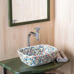 洗面ボウル タイル セット レクタングルマルチ・単水栓2点 toiletas