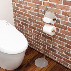トイレットペーパースタンド 2連 自立型 コストコ(本体・木製ホルダー2本・カッター・持ち手)|toiletas