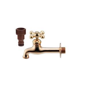 ガーデン水栓 蛇口 ゴールド 金 おしゃれ レトロゴールド K702K025|toiletas
