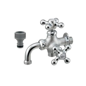 ガーデン水栓 蛇口 おしゃれ 双口万能 シルバー K704K116|toiletas