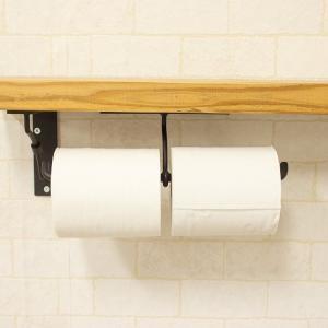 トイレットペーパーホルダー アイアン カウンター下付け 2連|toiletas
