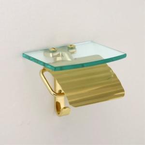 トイレットペーパーホルダー  真鍮 棚付 ゴールド 金 TPH ガラスシェルフ S  640712|toiletas