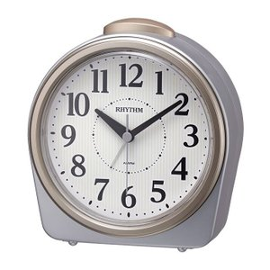 RHYTHM リズム時計 8RA645SR19 目覚まし時計 フェイス645 アナログ表示 シルバーメタリック色 電池付き|tokei-akashiya
