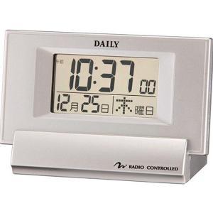リズム時計 8RZ084DA19 デジタル電波目覚まし時計 ジャストウェーブR084 シルバーメタリック 透明液晶 DAILY デイリー 電池付き|tokei-akashiya
