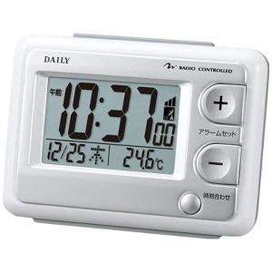 リズム時計 8RZ095DN03 デジタル電波目覚まし時計 ジャストウェーブR095DN ホワイト白 DAILY デイリー 電池付き|tokei-akashiya