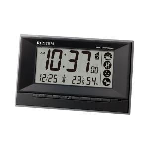 RHYTHM リズム時計 8RZ207SR02 デジタル電波目覚まし時計 フィットウェーブD207 ブラック 温度表示 湿度表示 電池付き|tokei-akashiya