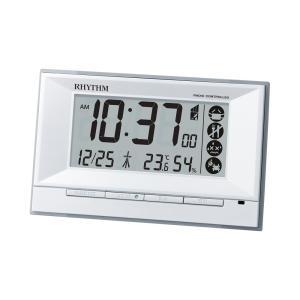 RHYTHM リズム時計 8RZ207SR03 デジタル電波目覚まし時計 フィットウェーブD207 ホワイト 温度表示 湿度表示 電池付き|tokei-akashiya