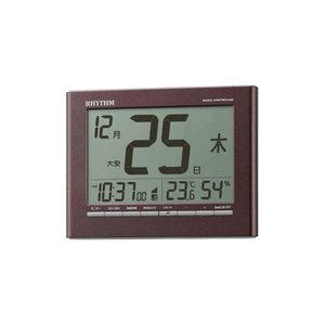 RHYTHM リズム時計 8RZ208SR06 デジタル電波目覚まし時計 掛置兼用 フィットウェーブカレンダーD208 茶メタリック色 温度表示 湿度表示 電池付き|tokei-akashiya