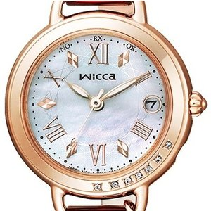 wicca ウィッカ KL0-863-11 ソーラーテック電波時計 白蝶貝文字板 スワロフスキークリスタル 新品 未使用|tokei-akashiya