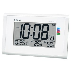 SEIKO セイコークロック SQ439W デジタル電波目覚まし時計 温度計 湿度計 快適環境NAVI 電池付き 掛置兼用|tokei-akashiya