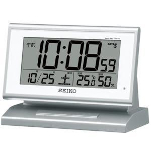 SEIKO セイコークロック SQ768S デジタル電波目覚まし時計 日付表示 曜日表示 温度表示 湿度表示 電池付き|tokei-akashiya