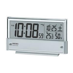 SEIKO セイコークロック SQ773S デジタル電波目覚まし時計 シースルー液晶 温度・湿度計表示 電池付き|tokei-akashiya