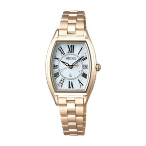 SEIKO セイコー LUKIA ルキア 綾瀬はるか宣伝モデル SSQW046 レディゴールド Lady Gold トノー型 ソーラー電波時計 ワールドタイム チタン 女性用腕時計 tokei-akashiya