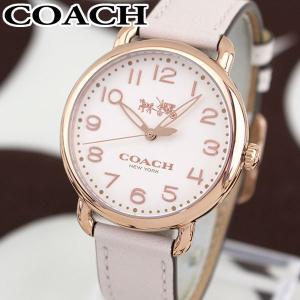 COACH コーチ 14502716 海外モデル デランシー アナログ レディース 腕時計 白 ホワイト ピンク 金 ピンクゴールド 革バンド レザー|tokeiten