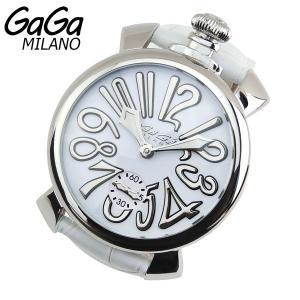 GAGA MILANO Manuale マヌアーレ 48mm 手巻き アナログ メンズ 腕時計 白 ホワイト 革ベルト レザー 5010.10S 海外モデル|tokeiten