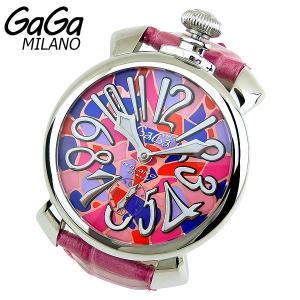 GAGA MILANO 手巻き Manuale マヌアーレ 48mm アナログ メンズ 腕時計 ピンク モザイク 革ベルト レザー 5010.MOSAICO.2 海外モデル|tokeiten