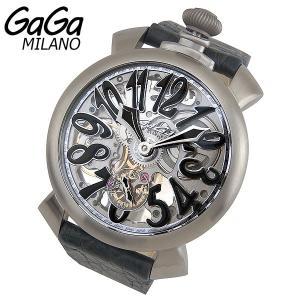 GAGA MILANO Skeleton スケルトン Manuale マヌアーレ 48mm 手巻き メンズ 腕時計 銀 シルバー グレー 革ベルト レザー 5310.02 海外モデル|tokeiten