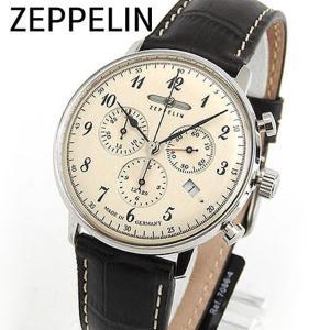 Zeppelin ツェッペリン クロノグラフ 7086-4 海外モデル Hindenburg ヒンデンブルク メンズ 男性用 腕時計 ウォッチ 茶 ブラウン アイボリー|tokeiten