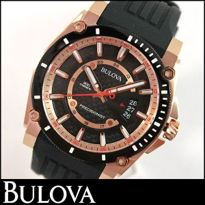 Bulova ブローバ 98B152 Precisionist プレシジョニスト Champlain シャンプレーン メンズ ウォッチ 腕時計 新品 ローズゴールド ブラック 黒 並行輸入品|tokeiten