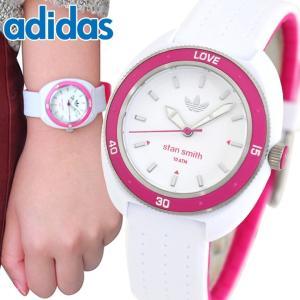 adidas アディダス STAN SMITH スタンスミス 白 ピンク レディース 腕時計 ウォッチ 防水 ホワイト シリコン ラバー バンド キッズ アナログ ADH3188 海外モデル|tokeiten