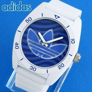 adidas アディダス SANTIAGO サンティアゴ 白 青 メンズ 腕時計 ホワイト ブルー シリコン ラバー バンド カジュアル アナログ ADH3195 海外モデル tokeiten