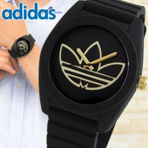 adidas アディダス SANTIAGO サンティアゴ メンズ 腕時計 黒 ブラック 金 ゴールド シリコン ラバー バンド カジュアル アナログ ADH3197 海外モデル|tokeiten