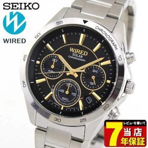 25日から最大31倍 セイコー ワイアード 腕時計 SEIKO WIRED NEW STANDARD ニュースタンダード ソーラー クロノグラフ メンズ AGAD089 国内正規品 ブラック|tokeiten